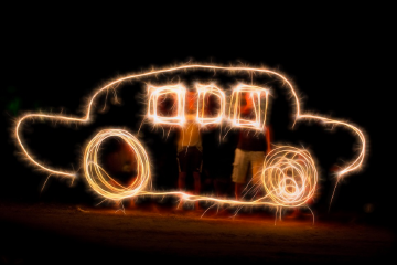 car drawn with light