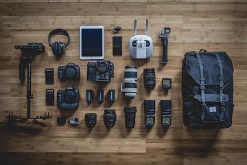 camera gear on floor